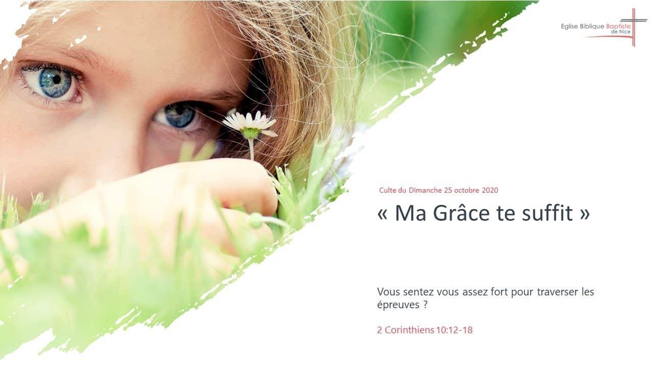 Ma Grâce te suffit 2 Corinthiens 12:1-10